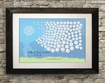 Wedding Guest Book Alternative, Dandelion Guest Book Print, Guest Book Free Pens, Guest Book Poster, 16 x 20 inches (40 to 125 guests)