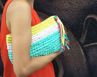Handmade crochet bag. Three color summer bag. Cotton yarn bag. Clutch.