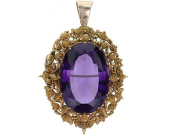Antique Amethyst Gold Cannetille Brooch/Pendant