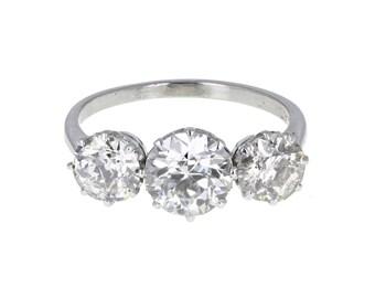 Antique Diamond Three Stone Platinum Ring