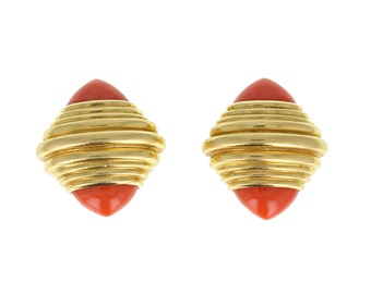 Boucheron Pink Coral Retro Clip Earrings