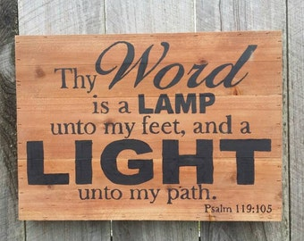 Thy Word is a Lamp Unto My Feet and a Light Unto My Path Psalm 119:105 Rustic Sign, Wood Wall Arr