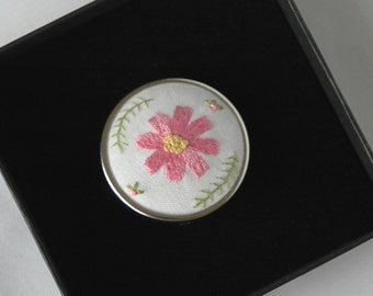 Hand embroidered cosmos flower brooch jewellery gift box
