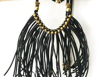 Boho necklace fringed suede BLACK STAR