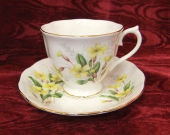 Pretty Royal Albert Bone China Cup and Saucer from Friendship Series in Primrose