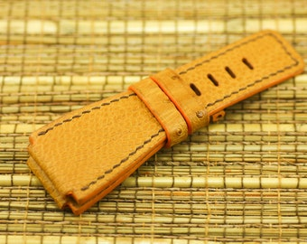 Tan ostrich strap + Eel lining + Brown stitching for Bell&Ross #DD0160