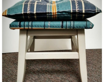 Plaid Foot Stool- Local Pickup or delivery