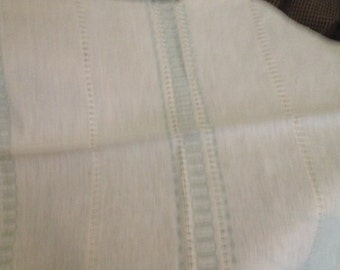 Woven Finnish tablecloth in off-white ecru with light blue striping Linen