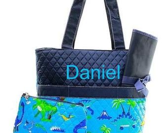 Boy's Diaper Bag/ Monogrammed Diaper Bag/ Dinosaurs Diaper Bag/ FREE MONOGRAM