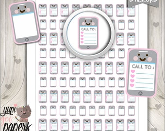Cellphone Stickers, Planner Stickers, Phone Call Stickers, Cell Phone Stickers, Mobile, Kawaii Stickers, Planner Accessories, Stickers