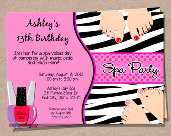 spa party invitation etsy. Black Bedroom Furniture Sets. Home Design Ideas