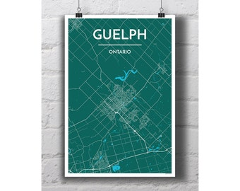Guelph, Ontario - City Map Print