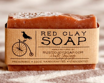 Red Clay Soap, sensitive skin soap, acne soap, dry skin soap, spa soap, skin care soap, Natural Soap, Handmade Soap, Unscented Soap