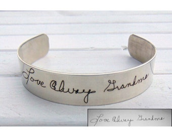 Sterling Silver Engraved Cuff Bracelet, Your Handwriting, Laser Engraved, Beautiful Christmas Gift, Custom Womens Girts, Gift Ideas for Her