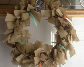 "Upcycled Rag Wreath 9"" Baby Shower Bridal Shower"