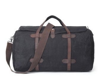 Lidded Leather Canvas Duffel Bag (Black)