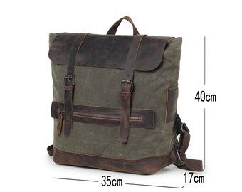 Campground Leather Canvas Backpack - Olive, waxed leather, water resistant, vintage style