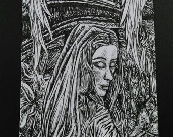 The Holy Virgin Pen and Ink Print