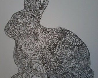 Zentangle A4 Bunny Rabbit Art Print