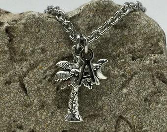 Palmetto Palm Tree Moon Charm Necklace  - Customized Jewelry Monogram Jewelry