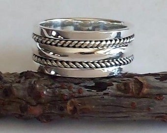 Sterling Silver twisted wire ring, Sleeve ring