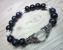 Hand made jewel bracelet blue goldstone 8mm white cats eye frosted quartz