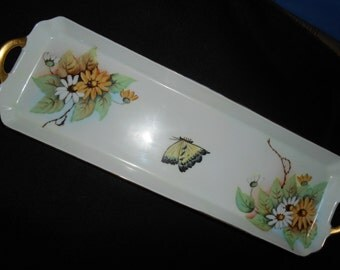 Sandwich Tray with Butterfly and Beautiful Daisies Signed T Fechtler backstamp 1792 H&C Czechoslovakia  1918 circa 1945