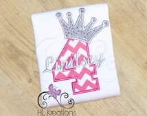 Princess Birthday Shirt for Girls, Chevron Princess Number with Crown