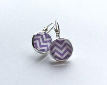 Handmade Purple/White Chevron Glass Cabochon Earrings