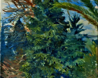 Harmony - trees from jerusalem forests 40-50 cm original signed oil painting