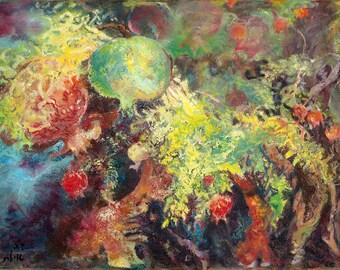 Paradise Pomegranates -25-35 cm original oil painting