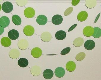 Green Circle Garland, Shades of Green Garland, Baby Shower, Happy Birthday, Bridal Shower, Wedding, Party Decor