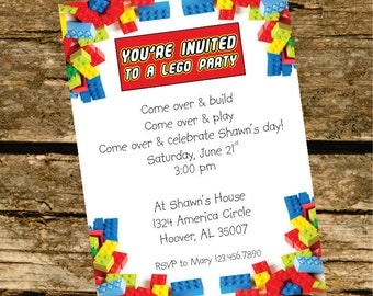 Lego Party Invitation -Digital File-