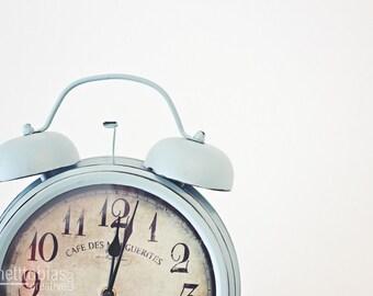 Vintage Alarm Clock on a White Table, Blue Alarm Clock at Twelve o'clock, Blue Alarm Clock, Home Decor, Alarm Clock Print, Vintage Print