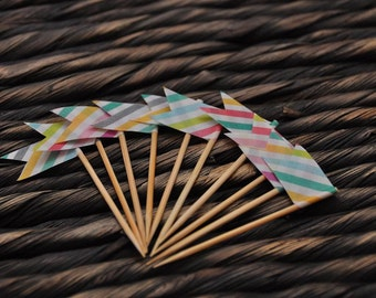 Rainbow Stripey Cupcake Toppers - Pack of 10 Handmade Cake Decorations - Funky Cake Flags -  Bake Sale and Party Cake Topper