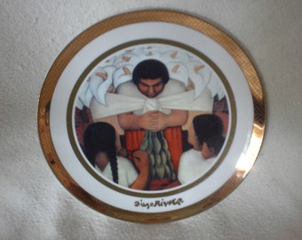 "Rosenthal Diego Rivera ""Dia de la Flor"" 1925 Signed Plate (24K) Collector Plate"