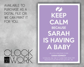 Baby Shower, Invitations, Party, Printed or Digital File Available, Keep Calm