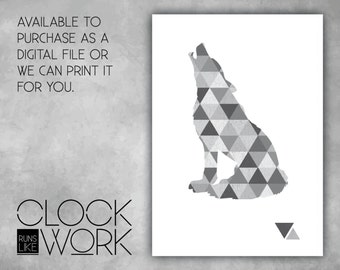 Wall Art, Prints, Home Decor, Inspirational Quotes, Nursery Prints, Printed or Digital File Available, Geometric Wolf