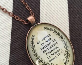 Scripture Necklace, Scripture Jewelry, Scripture pendant, gift, Bible Verse