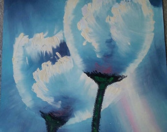 "Oil Painting of a Dandelion on 27"" x 23"" unmounted canvas"