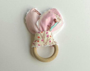 Teething Ring, Bunny Ears Teething Ring, Natural Wood Teether, Wooden Toy, Baby Gift, Baby Girl, Made and Ready to Ship