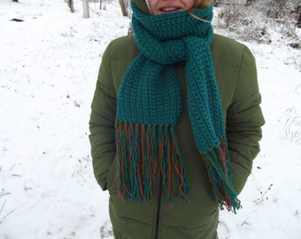Handmade crocheted scarf with fringes