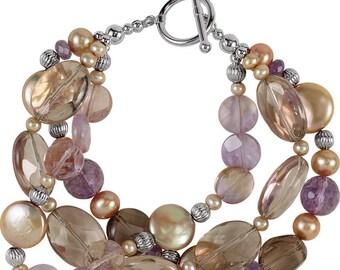 Freshwater Cultured Dyed Chocolate Pearl & Multi-Gemstone Bracelet