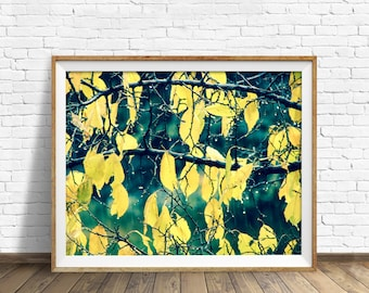 "nature print, instant download printable art, branches, leaves, green, nature photography, large art, large wall art, print, art -""Changes"""