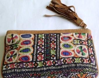 Leather Banjara purse, Mother's Daughter's Leather Purse, Suede Leather Bag, Handbag for girls, Bohemian Bag, Ethnic Handbag, Vintage bag