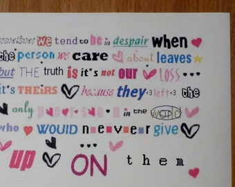 Print with Quote: Don't despair if a love one leaves - it their loss not yours! Full of colour random hearts and stars depiting a goodfuture