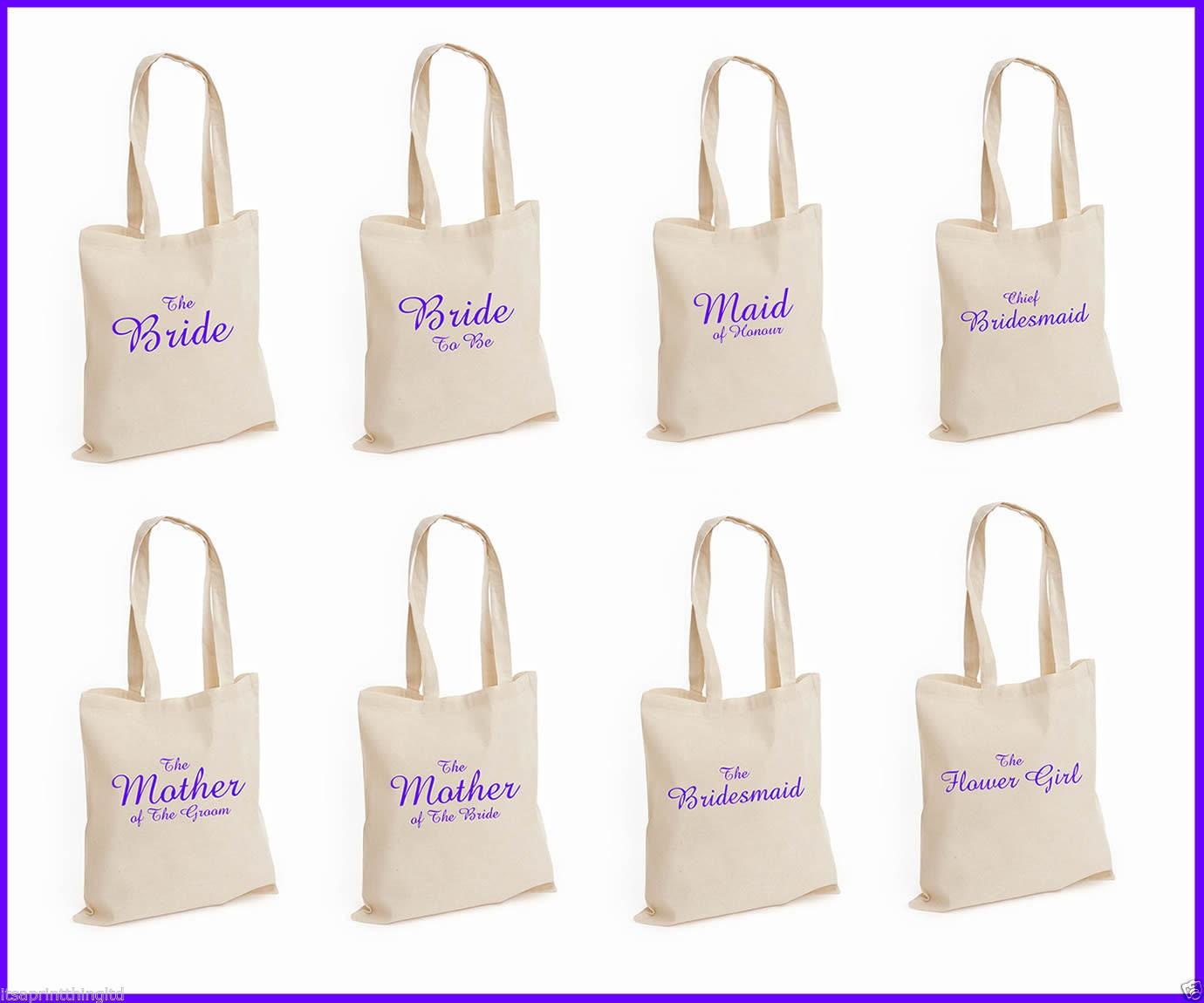 Wedding Party Gifts Uk: Printed Purple Wedding Party Bridal Tote Bags Bridesmaid