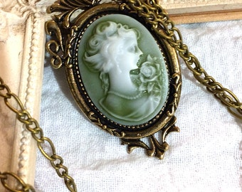 Cameo Lady of Rose Necklace
