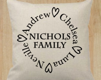 Personalized Family Pillow Cover 18x18