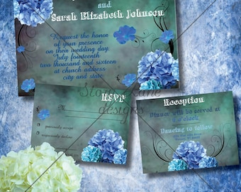 "Wedding Invitation/RSVP/Reception Card ""Baby Blues"""